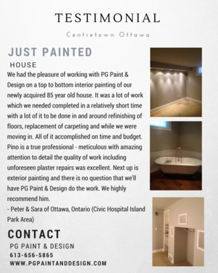 interior house painting testimonial for PG Paint & Design painters in Ottawa