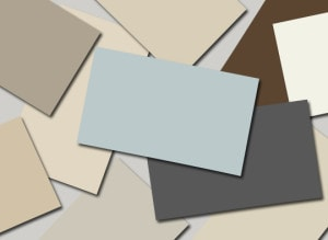 paint colour samples in neutral tones in browns and grays from benjamin moore
