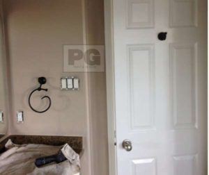 master bathroom with electrical plug wall plates removed before painters begin painting
