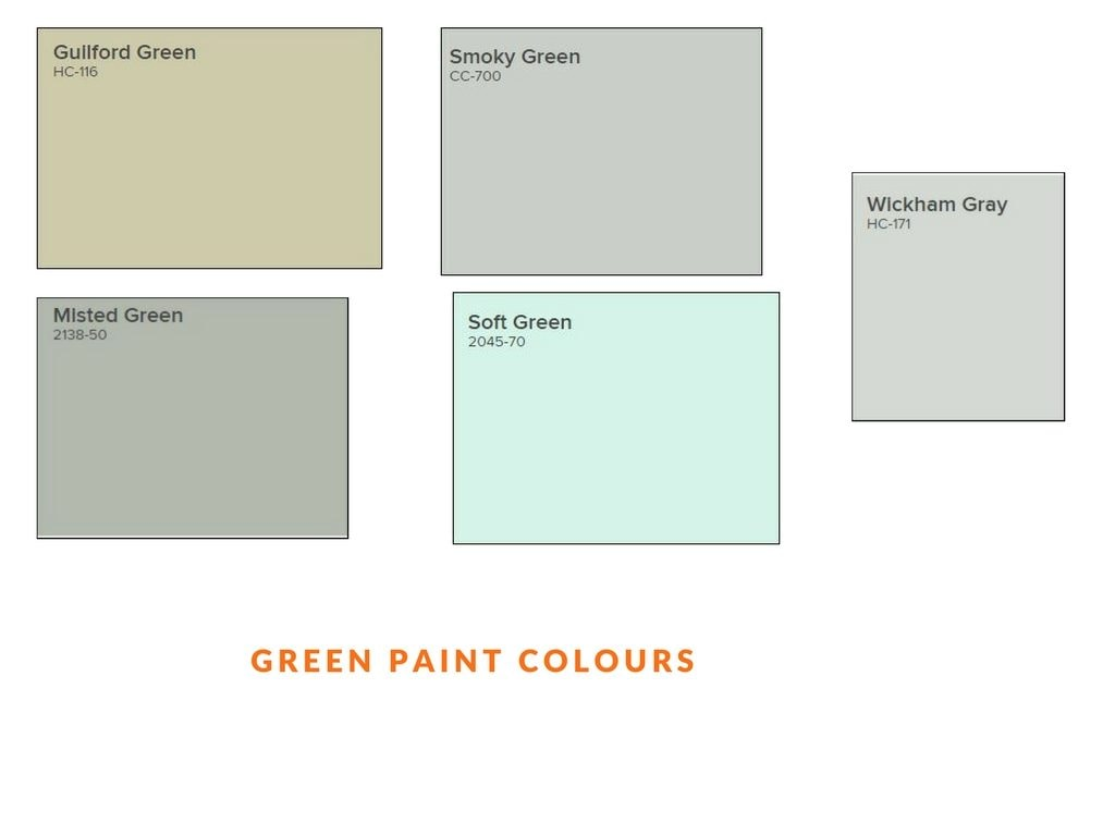 green sample paint colours for interior painting used by painters in Ottawa PG PAINT & DESIGN