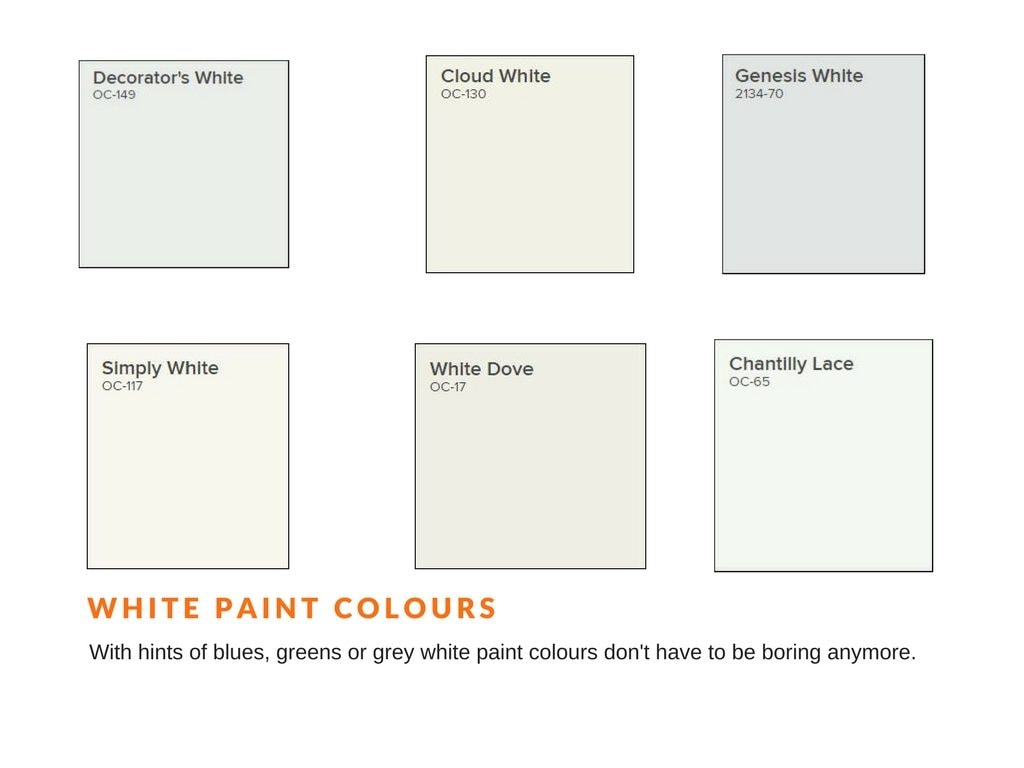 samples of white paint colours for interior painting used by Ottawa painters PG PAINT & DESIGN