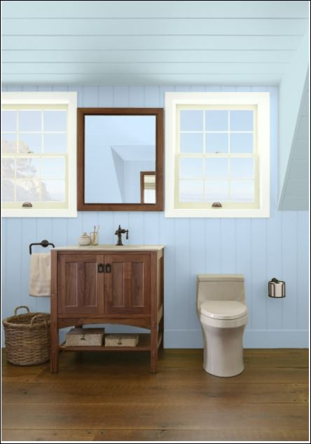 paint colour blue ice from benjamin moore paints used by ottawa painters for painting bathroom