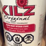 Can of kilz primer for covering water stain on ceiling before painting
