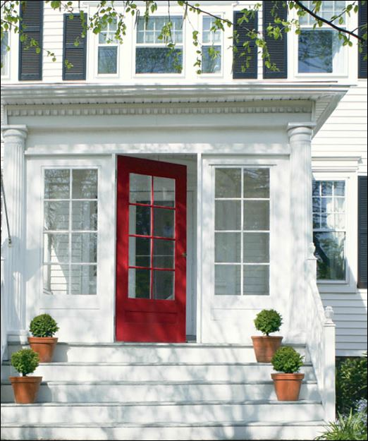 red paint on front door entrance exterior painting by PG PAINT & DESIGN Ottawa painters