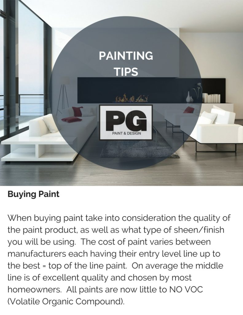 tips on cost of buying paint for a house painting project from PG PAINT & DESIGN painters in Ottawa