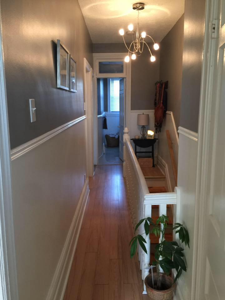 painting of hallway corridor with eggshell paint finish by house painters in Ottawa PG Paint & Design