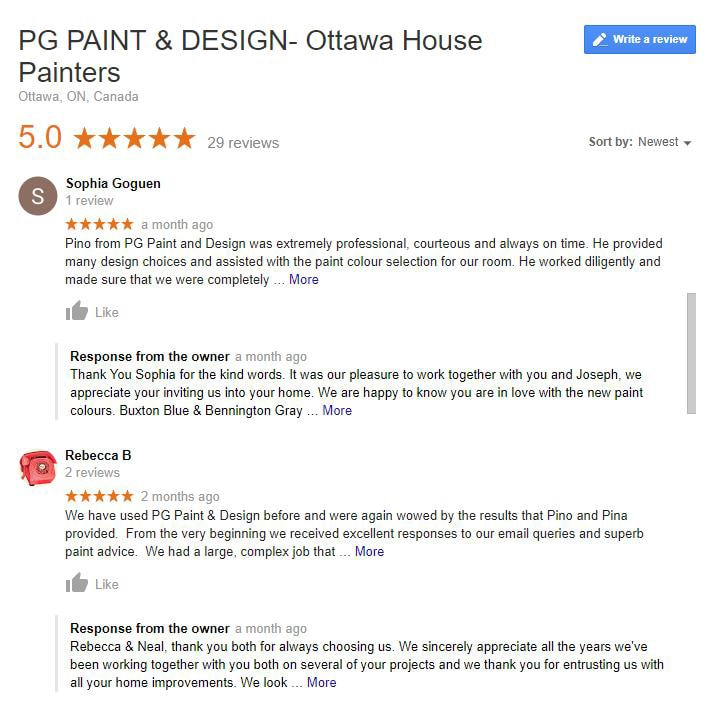 Reviews for painters in Ottawa PG PAINT & DESIGN Painting Contractors