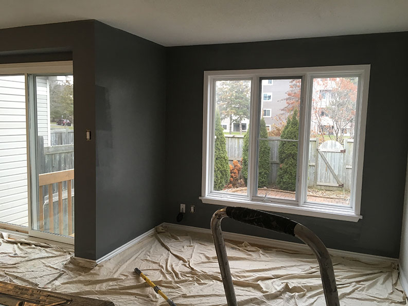 interior painting in dark gray paint colour by painters in Ottawa PG PAINT & DESIGN