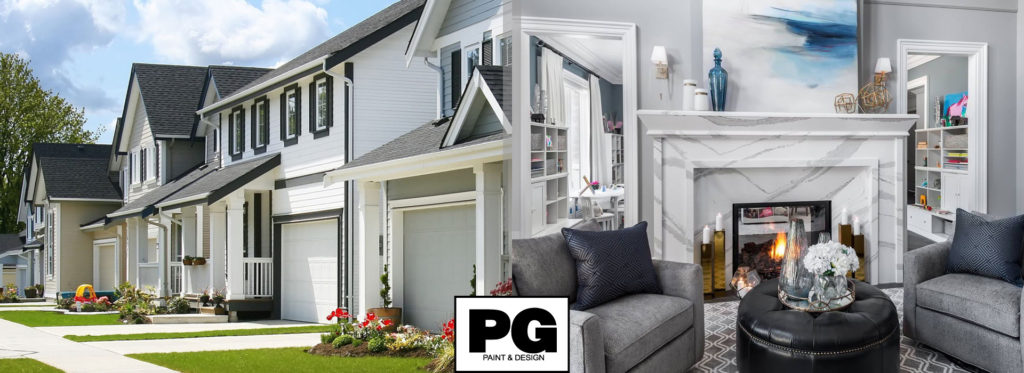 exterior of a house in Ottawa and interior of a living room newly painted