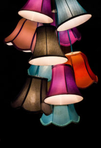 lamps in pink brown black blue gray colours
