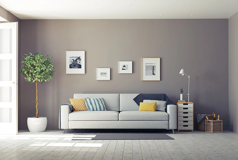 living room interior and wall painted in dark gray colour
