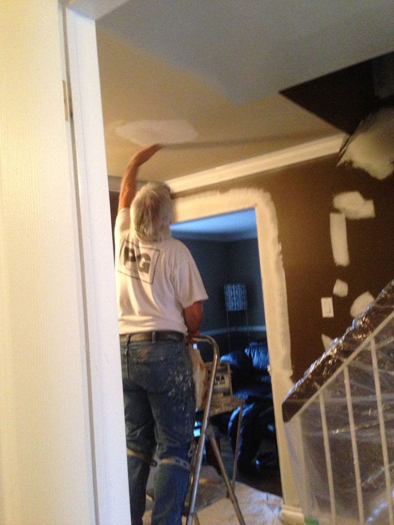 patching and repair to ceiling and walls before painting by Ottawa painters - PG PAINT & DESIGN