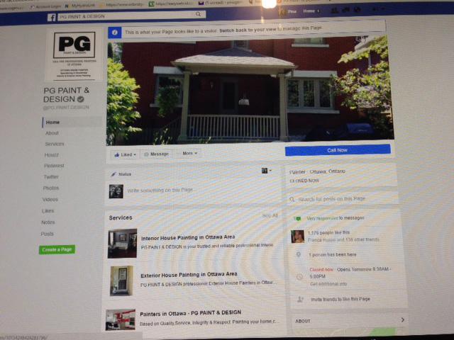PG PAINT & DESIGN Facebook profile page