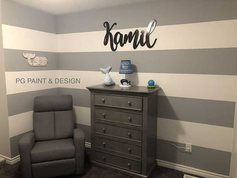 PG PAINT & DESIGN painted interior of baby's nursery room with gray and white stripes