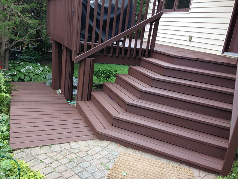 PG PAINT & DESIGN professional painting company painted exterior of wood steps and patio deck