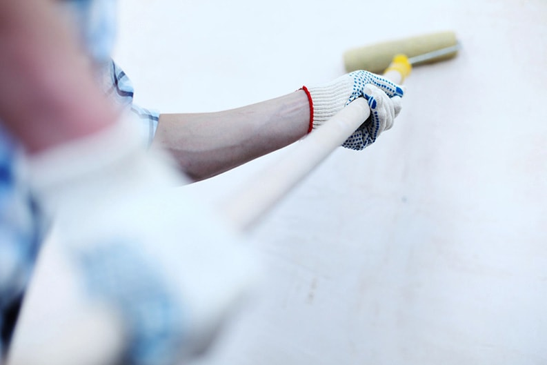professional painter painting a wall with a paint roller