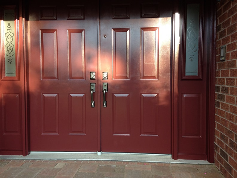 exterior painting of doors to house in Ottawa by painters PG PAINT & DESIGN painting company
