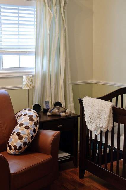 interior painting of room with guilford green paint colour from benjamin moore paints