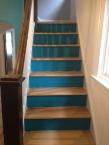 interior painting of staircase steps painted in blue paint colour by PG PAINT & DESIGN Ottawa painters