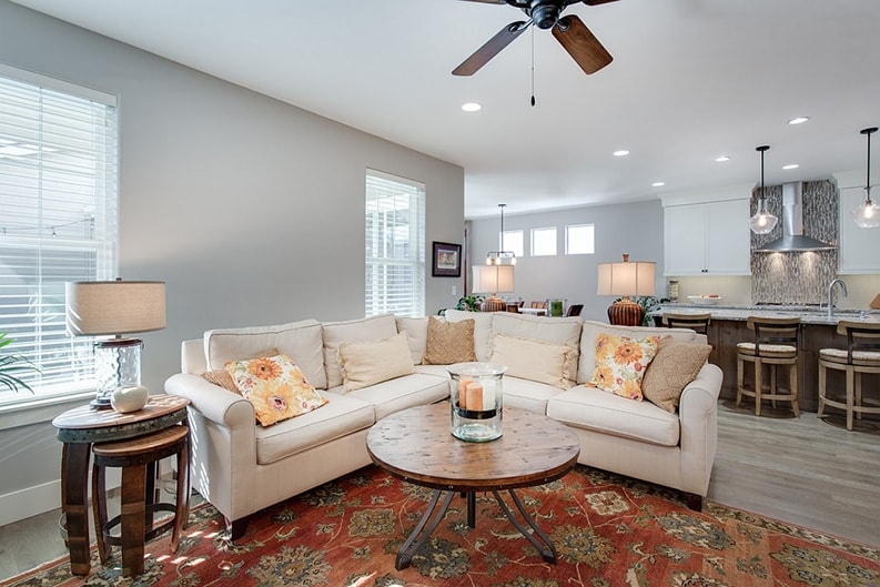 table lamps and ceiling lights for interior of living room and kitchen area