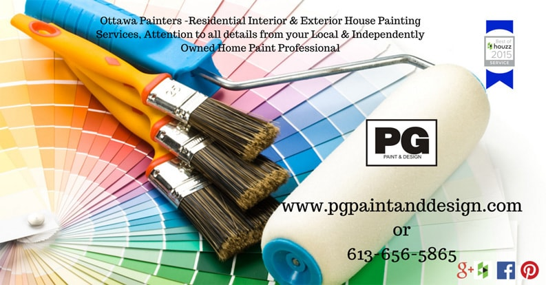 various paint brushes placed on top of a colour chart with PG PAINT & DESIGN logo and contact info