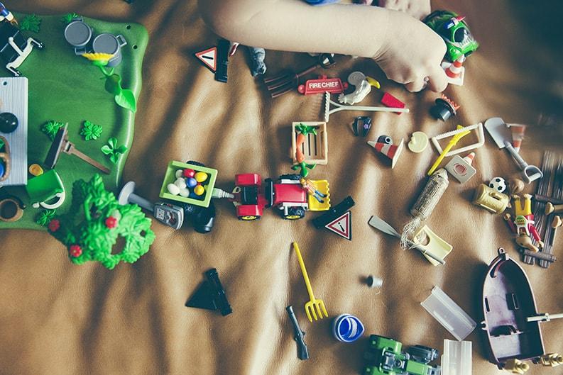 various toys on floor