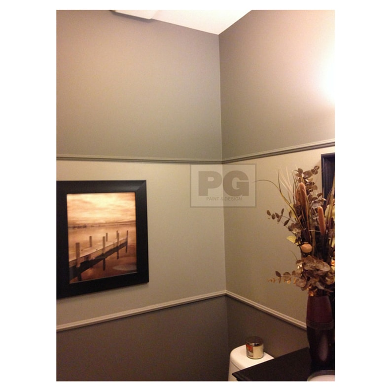 gray paint colour in two tones in painting of bathroom
