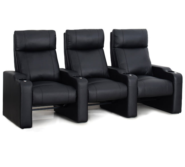 The Octane ZR400 Ace VIP Rocker is the perfect new addition to your home theater or movie room.  Designed with a seating mechanism that rocks back and forth, just like in your local cinema, this premium rocker works brilliantly in home theaters that are limited by space but want to be able to add extra rows.  Consider a fully reclining lounger row in front and our new Ace rockers in the back row?  This is the best way to maximize the number of people in the room. This movie rocker is upholstered in a thick and rich feeling black bonded leather which is soft to the touch and luxuriously comfortable to sit in.  The great benefit of the bonded leather is the easy cleaning and durability – perfect for home with pets and small children. The ZR400 Ace also includes the Octane Accessory Dock® which accommodates all the Octane brand accessories like the reading lights, tray tables, tablet holders and much more.