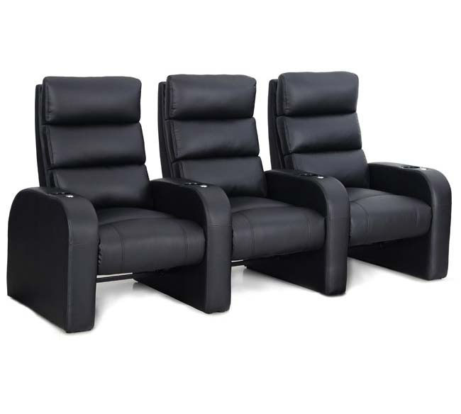 "The Octane ZR500 Cruise movie chair is a fantastic choice for a home theater that is limited by space and where one wants to add as many chairs as possible.  The space saving design of this cinema rocker creates perfect rows of seating that can be placed within inches of the wall and still allow for the seat back to rock and recline.  The Octane Cruise is a traditional movie rocker with a twist!  The Octane Accessory Dock® is located in the front of the armrest and accommodates all the exciting accessories that are available in the full Octane brand like the tray tables, tablet holders, cigar holders, reading lights and so much more. The ZR500 is upholstered in a beautiful thick black bonded leather that is extremely durable and easy to clean.  The soft touch of the upholstery will make you never want to stand up again, and the elegant triple-bolster in the seat back is a comfort juggernaut! Design your layout in a row as small as a single seat or as many as 20 seat rows.  This is how you change your weekends forever.  Are you ready to relax? <img src=""<a href=""http://tinypic.com?ref=2ikcnx2"" target=""_blank""><img src=""http://i67.tinypic.com/2ikcnx2.jpg"" border=""0"" alt=""Image and video hosting by TinyPic""></a>"" />"