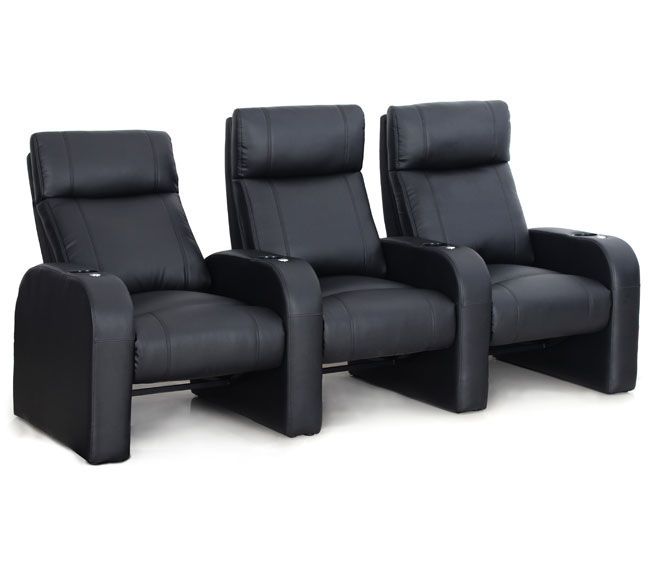 The Pulse movie chair seating is one of the most exciting new introductions into the Octane line.  Designed to be used in cinemas or home theaters where one wants to maximize the space with multiple seats per row and many rows. The Pulse has a space-saving footprint that will ship fast to your home on business with fully assembled (backs slide into bases).  Create rows as little as one seat and as many as your room can fit – this seat is designed to be modular and scale to the size of the room. The Pulse rocker is upholstered in a thick and durable black bonded leather which is soft to touch.  Bonded leather is a combination of real leather and synthetic materials that are popular because the material is easy to clean and maintain. The Pulse movie chair includes the Octane Accessory Dock® which allows for all the Octane accessories to be used with this seat like the tray tables, reading lights, cigar holders, popcorn holders and much more.