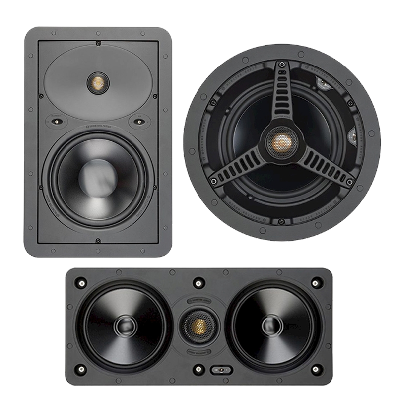 <strong> W150-LCR </strong> The 2-way W150-LCR in-wall model with 5-inch drivers features Monitor Audio's MMP II cones coupled with a pivoting version of our C-CAM Gold Dome tweeter.  <strong>W265 </strong> A 6 1/2 inch C-CAM bass driver and a more highly specified version of the C-CAM Gold Dome tweeter offer an extended high-frequency response to 30 kHz, as well as higher output and power handling capacity.   <strong>C265 </strong> A 6 1/2 inch C-CAM bass driver and a more highly specified version of the C-CAM Gold Dome tweeter offer an extended high-frequency response to 30 kHz, as well as higher output and power handling capacity than the 2-way models.