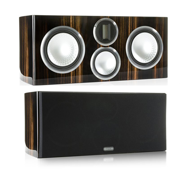 """<h2>GOLD C350</h2> </br> Its three-way, four driver configuration mirrors that of the Gold 300, although the bass drivers are tuned to work in the Gold C350's sealed cabinet. Unsurprisingly the C350 is the perfect match for its floor-standing counterpart, producing frequencies from 40 Hz to beyond 60 kHz. A neutral tonal balance and distortion-free sound give the C350 the ability to project crystal-clear dialogue and mid-range detail at any volume. This product is now available to use with home theatre design software, The Cinema Designer. </br> <strong>Features</strong></li> <li>C-CAM (Ceramic-Coated Aluminium/Magnesium) ribbon transducer design – providing extension to a class leading 60 kHz</li> <li>Single bolt through driver fixings for improved bracing, rigidity and driver/baffle de-coupling</li> <li>New C-CAM RST (Rigid Surface Technology) bass/mid-range driver</li> <li>Die-cast alloy terminal panel arrangement with high quality bi-wire terminals and high end spade type link cables</li> <li>Pureflow silver internal cabling</li> <li>Selected premium quality wood veneer or high gloss lacquer finishes</li> <li>Rigid 20 mm MDF construction throughout, employing radial and cross-bracing techniques for high rigidity resulting in low cabinet colouration</li> <li>Invisible magnetic grille fixings provide a sleek visual effect.</li> </br> <img src="""" http://i65.tinypic.com/de737.jpg """"> </br> <img src="""" http://i68.tinypic.com/213i2qa.jpg """">"""