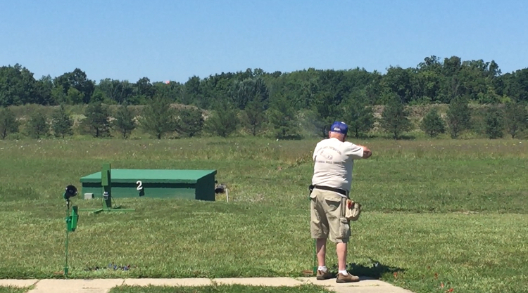 MTA past president Dick Turner shot at his 300,000th registered target during the Michigan central zone shoot.