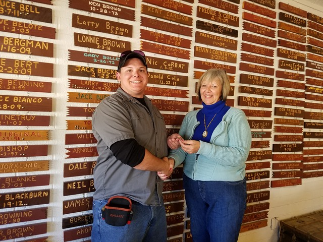 Daniel Forbes and Tiger Volz hung a plaque on Casa Grande's Wall of Fame for Forbes' first 100 straight