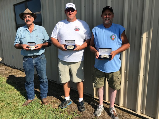 Winning belt buckles in the President's Handicap at the Grand were Bob Dorzok, senior vet third; Roger Taylor Jr., 21-22 champ; and Dave Marohl, event third place after a near-perfect score. In the AIM Grand National's doubles event, Cody Barwick was sub-junior B runnerup, while Dalton (Sparky) Kellner placed second in junior gold C standings.