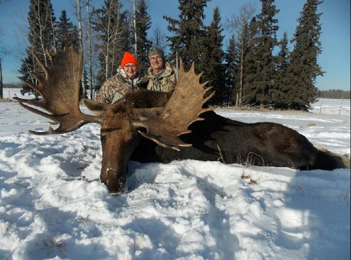 Vickie and Randy Farmer went home with 500 pounds of processed meat after Randy harvested a moose in northern Alberta, Canada.