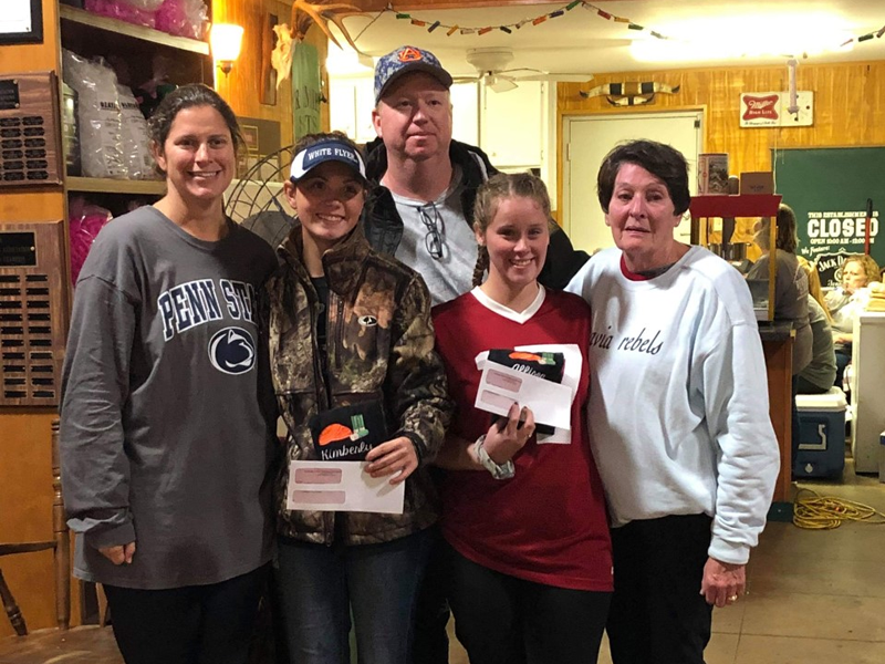 Kimberly Hillhouse and Allison Parson (middle) were recipients of Fred Jensen Memorial Scholarships, awarded by the former ATA Delegate's wife Louise Jensen (right). She, along with her daughter and son-in-law Maggie and Terry Edmonds, were on hand to congratulate the winners.