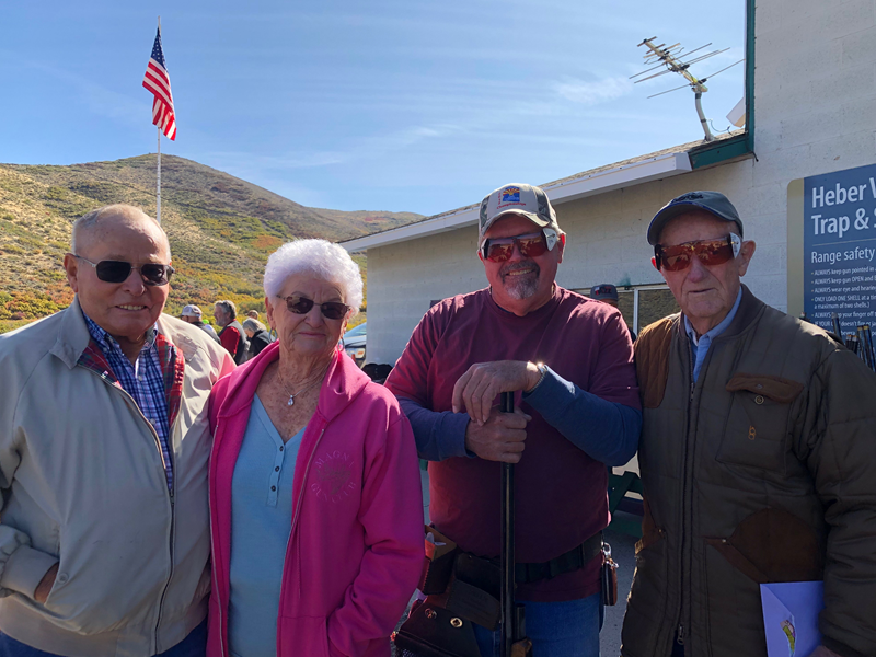"""Heber Valley GC held an appreciation shoot for Jim Duke (right). Other """"pioneers"""" of Utah trapshooting who attended were Byron and Pauline Deleeuw and Joe Sudbury."""
