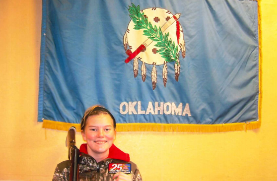 Thirteen-year-old Cashlin Smith broke her first 25 straight at the Dec. 22 derby shoot at OTSA SP, El Reno, OK.