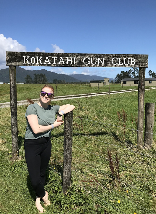 Randi Wehking, daughter of ATA Western Zone Vice President Ed Wehking, at the Kokatahi Gun Club during a family trip to New Zealand.