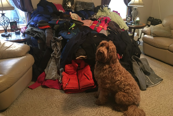 Members of Pine Belt SC collected more than 100 coats for local children in need. Rusty seems impressed with the shooters' efforts.