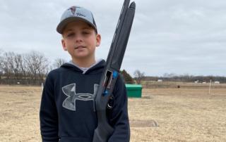 Thirteen-year-old Noah Heitland, using his new gun, broke one of the three orange birds at Ada S&TC's Jan. 5 shoot