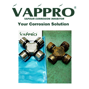 Vappro logo sitting over two metal parts - one protected with Vappro VCI corrosion prevention and the other with no protection