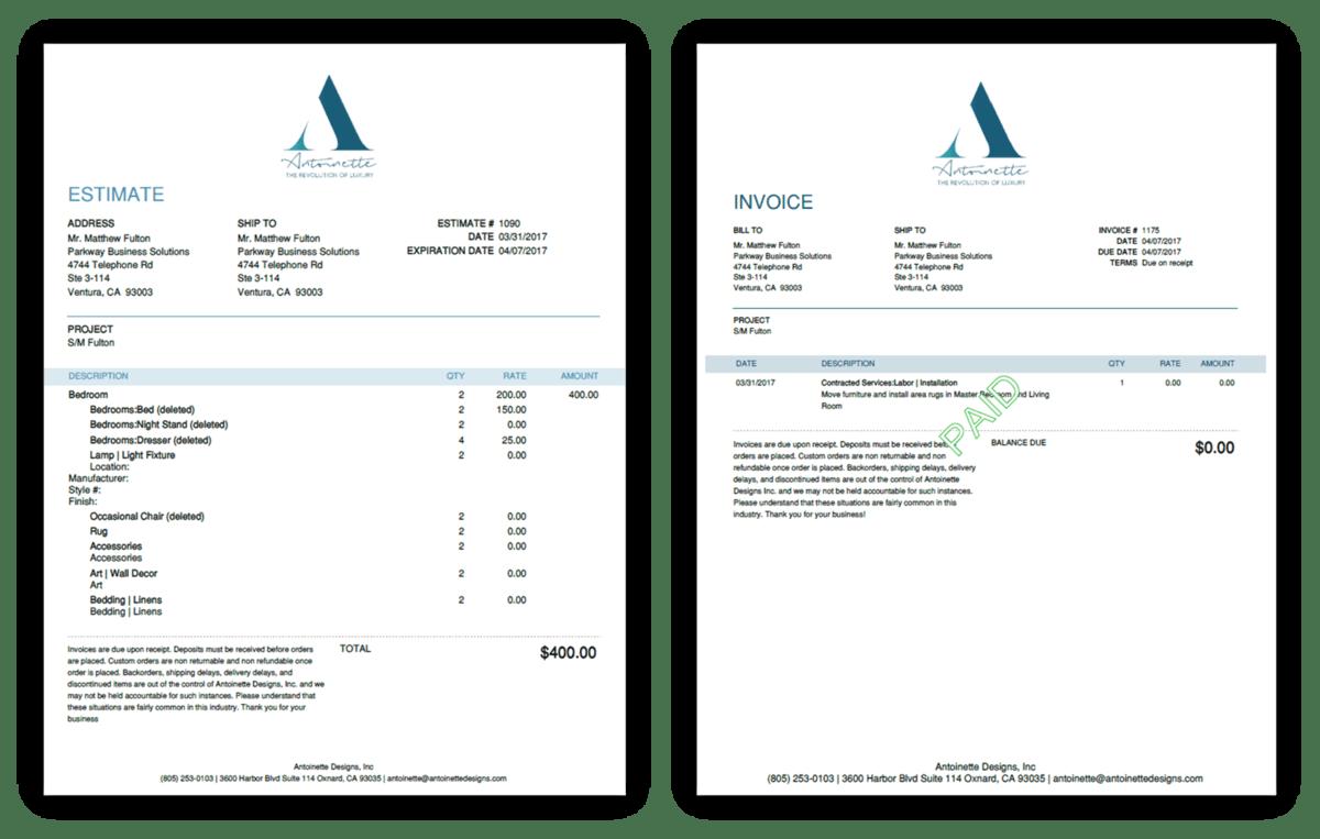 QuickBooks Online Invoice Examples for Antoinette Designs