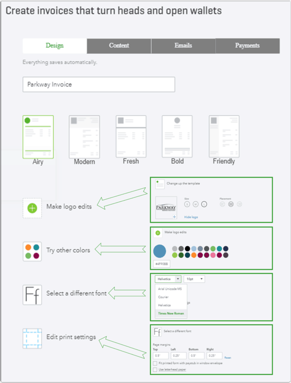 QuickBooks Online Invoice Design Setting Options