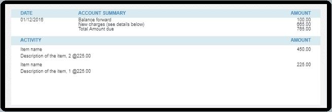 QuickBooks Online Invoice Body