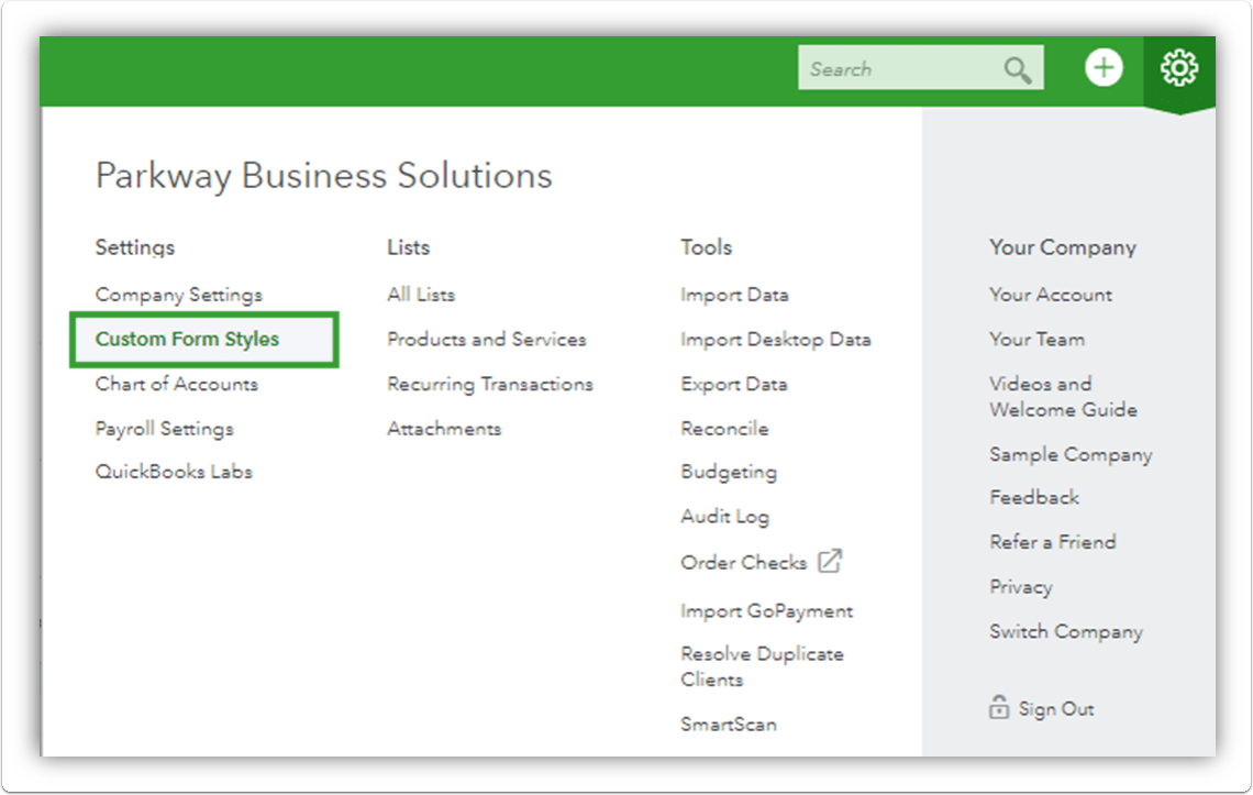 First Step to create your QuickBooks Online Invoice