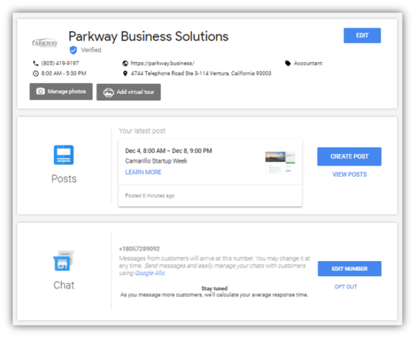 Google My Business main dashboard