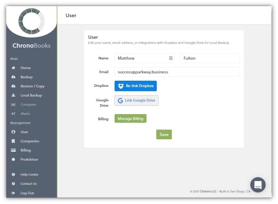 ChronoBooks User Screen