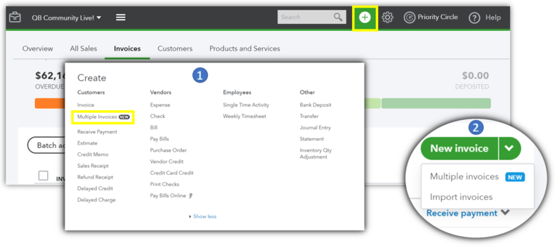 Visual screenshot that shows how to access the QuickBooks Online CSV import feature